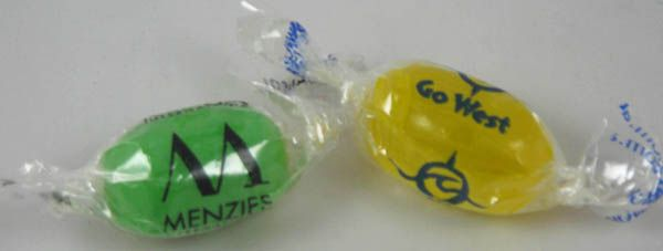 How sweet ... individual boiled lolly with branded wrapper ... great for front of office reception areas. #brandedconfectionery