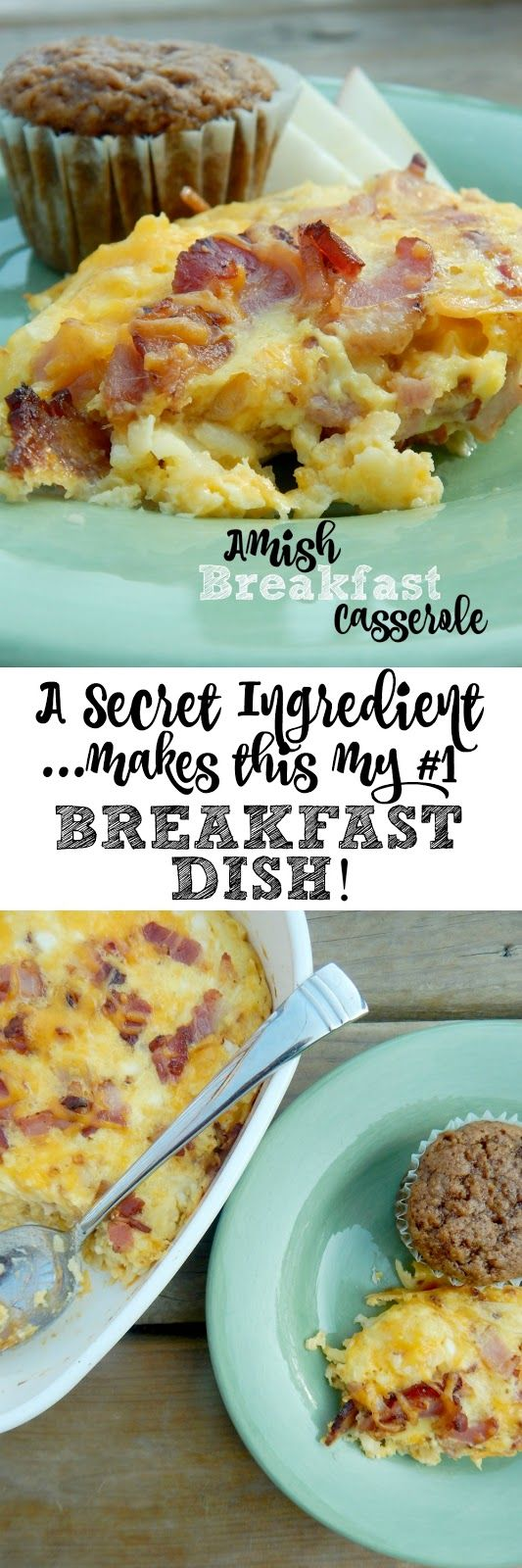 Amish Breakfast Casserole...the BEST baked egg dish EVER!  Can you guess the secret ingredient?