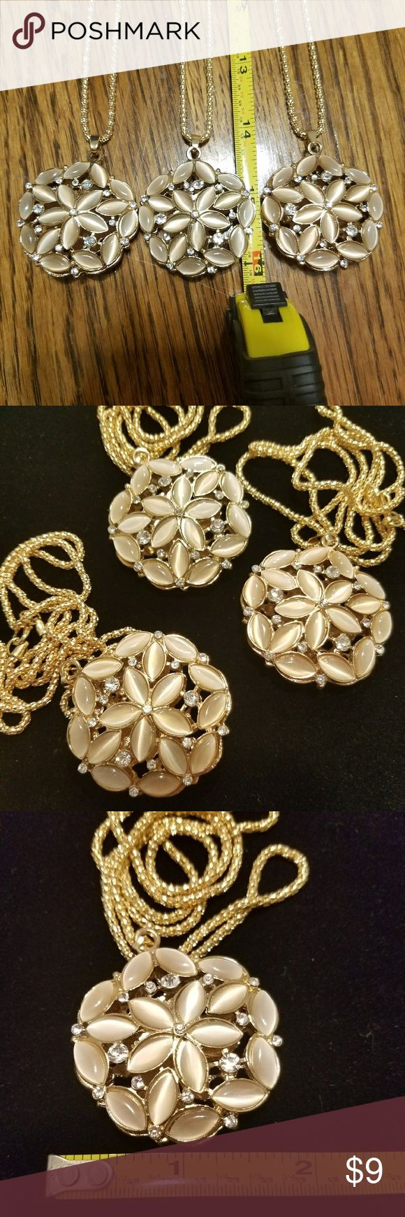 """Necklace With 3D Flower Pendant. Necklace and pendant three-dimensional Round Flowers. Composition is of Alloy Metals, Faux Opal unique beige color. White Rhinestones. Gemstones. Goldtone. NWOT. Chain Length: 14""""  Pendant Diameter: 2""""  Package included: 1 Necklace 1 Pendant. Jewelry Necklaces"""