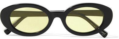 Elizabeth and James - Mckinley Oval-frame Acetate Sunglasses - Black.afflink