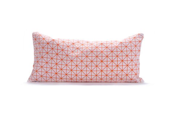 "White orange pillow, geometric cushion cover 11.8X23.6"", 30x60 cm, Printed origamy cushion Home decor accessory on Etsy, $54.00"