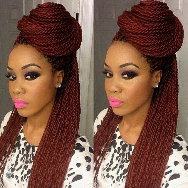 Auburn Senegalese hairstyle half up
