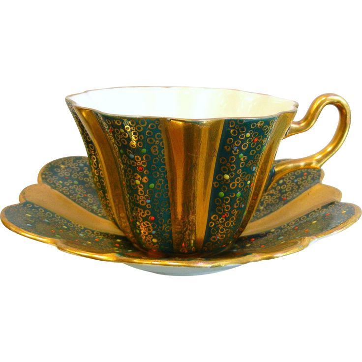 Vintage Royal Stuart Spencer Stevenson England Bone China Teacup & Saucer Set - Green & Gold