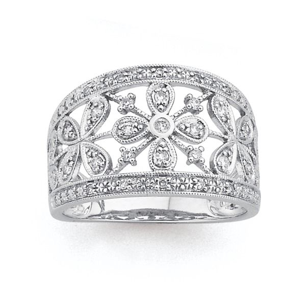 9ct White Gold Diamond Floral Ring