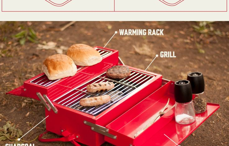Tough portable and mega manly BBQ. Red hot design from SUCK UK