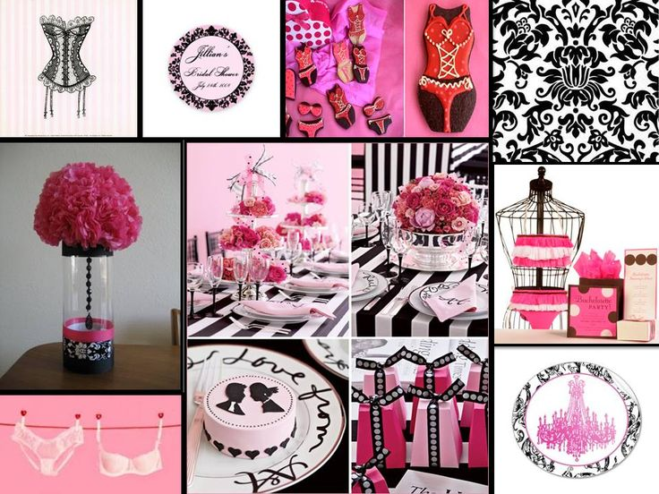lingerie shower decoration inspiration collage