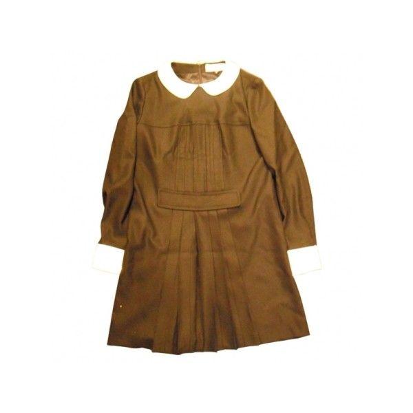 Robe Mademoiselle Tara TARA JARMON sur VestiaireDeCopines.com ❤ liked on Polyvore featuring dresses, tara jarmon dresses, brown dress, women dresses, game day dresses and tara jarmon