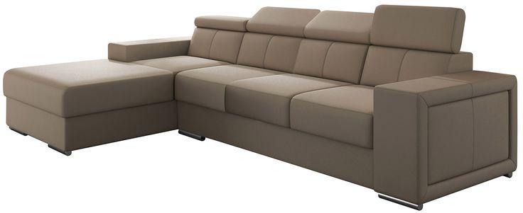 Canapé d'angle moderne 4 places en simili cuir coloris cappuccino avec méridienne angle gauche