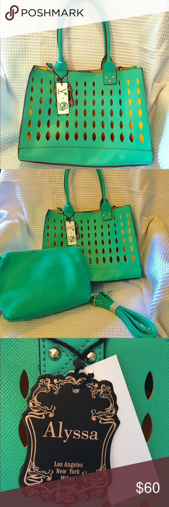 """Alyssa Vegan Mint Green 2 in 1 Satchel Lg Purse NWT ALYSSA Vegan and lead-free 2 in 1 satchel.  A pretty Mint Green with Yellow interior.  Removable handbag inside has a zippered closure. Gold studs and hardware on the Purse.  Removable/adjustable shoulder strap. The purse measures 14"""" x 11"""" with a 9 inch strap drop. The removable hand bag measures approximately 12"""" x 9"""". If you have any questions just ask! ALYSSA Bags Satchels"""