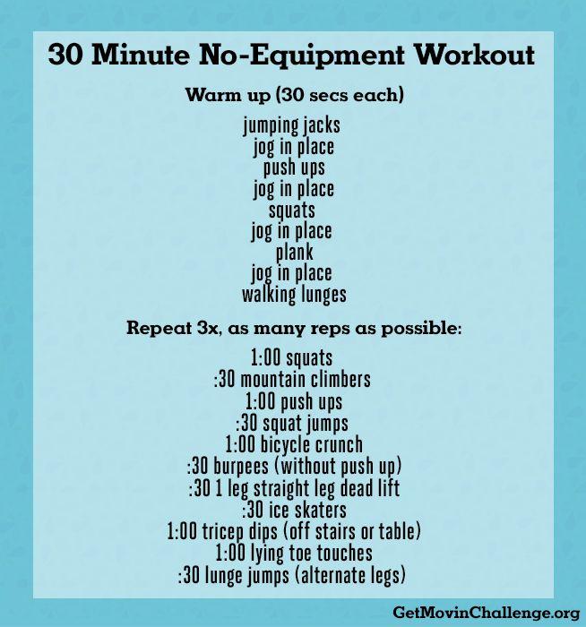 30 Minute No-Equipment Workout | www.GetMovinChallenge.org #COgetmovin