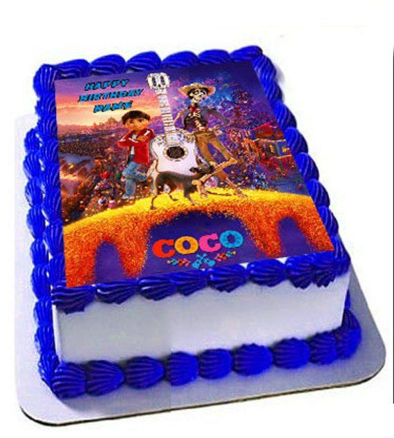 Coco Birthday Party Premium Edible Frosting Cake Topper Custom Personalization