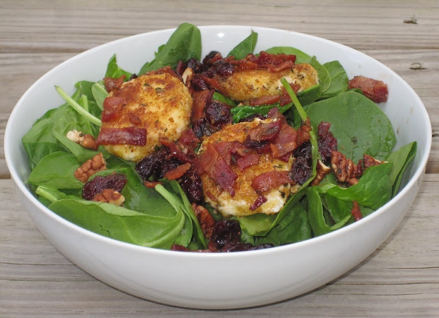 Confessions of a Cookaholic: Spinach, Bacon, & Fried Goat Cheese Salad