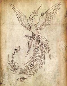 Flying Phoenix Bird Tattoo Design                              …