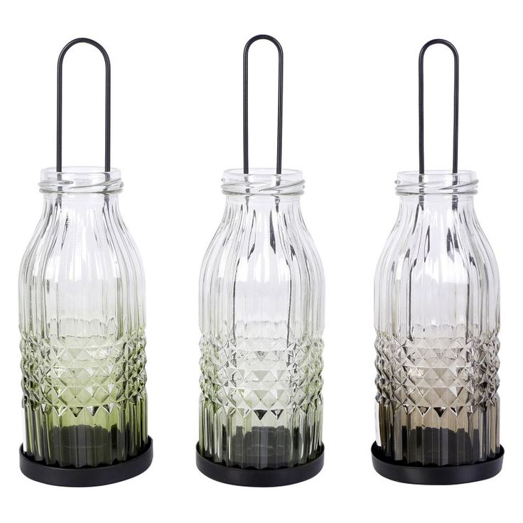 A and B Home Roxy Bottle Indoor Lanterns - Set of 3 - HP76315