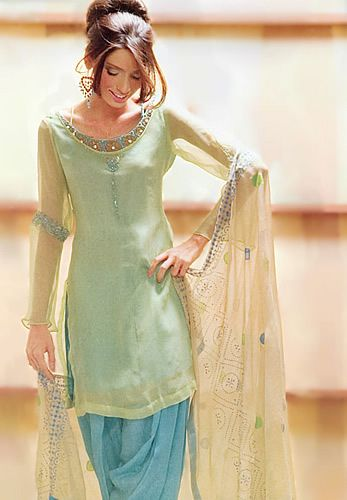 Beautiful sea green and blue salwar kameez