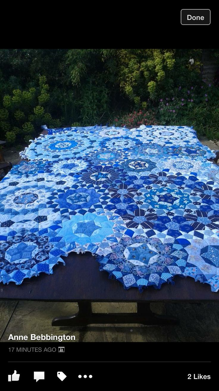*This gorgeous blue hexagon quilt was made Anne Bebbington