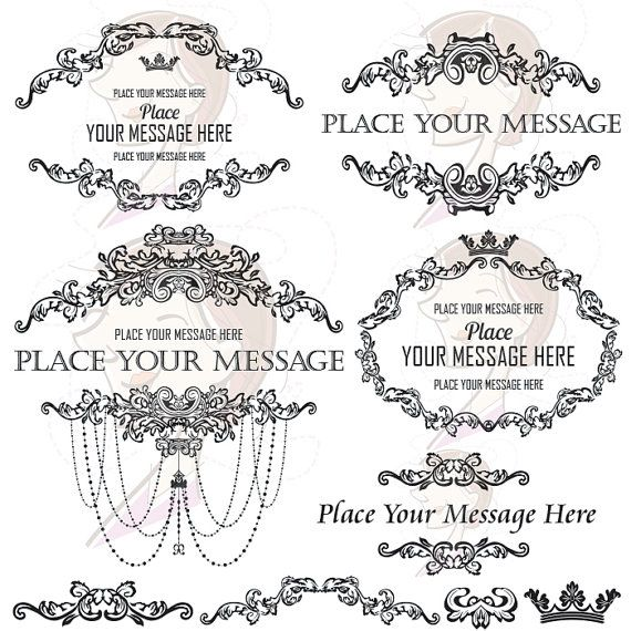 French country design clipart include vintage frames for French country design elements