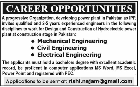 Jobs For MechanicalCivilElectrical Engineer In Public Sector