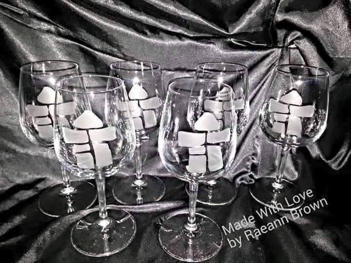 Inukshuk etched wineglasses by RaeannsInuitArt on Etsy
