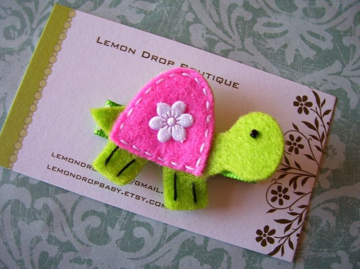 Turtle Felt Hair ClipHot Pink and Lime Green Felt by lemondropbaby