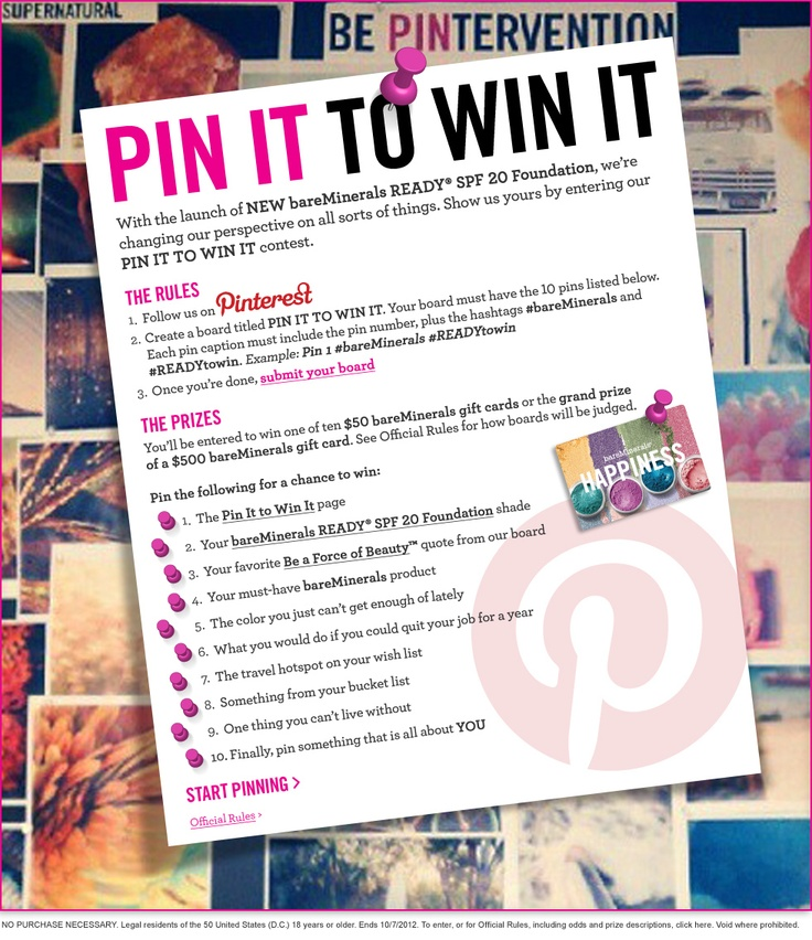 Pin it to win it page
