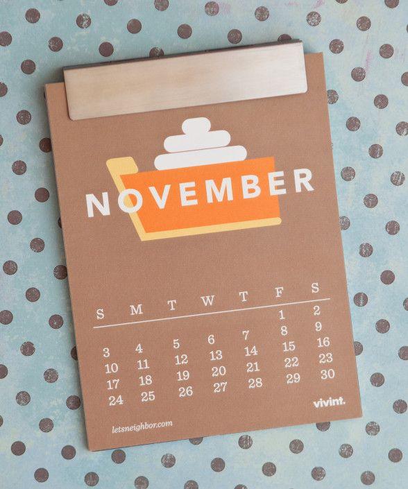 free downloadable calendar: november