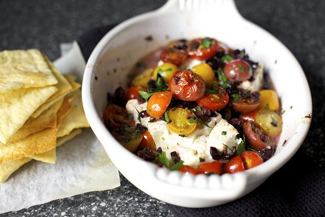 Mediterranean baked feta with tomatoes | yummy food | Pinterest