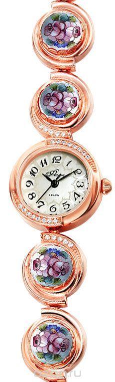 Часы женские наручные Mikhail Moskvin Флора, цвет: золотистый. Часы с финифтью Отрада 1138B8-B1