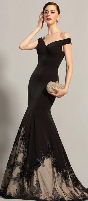 eDressit Off Shoulder Black Formal Gown