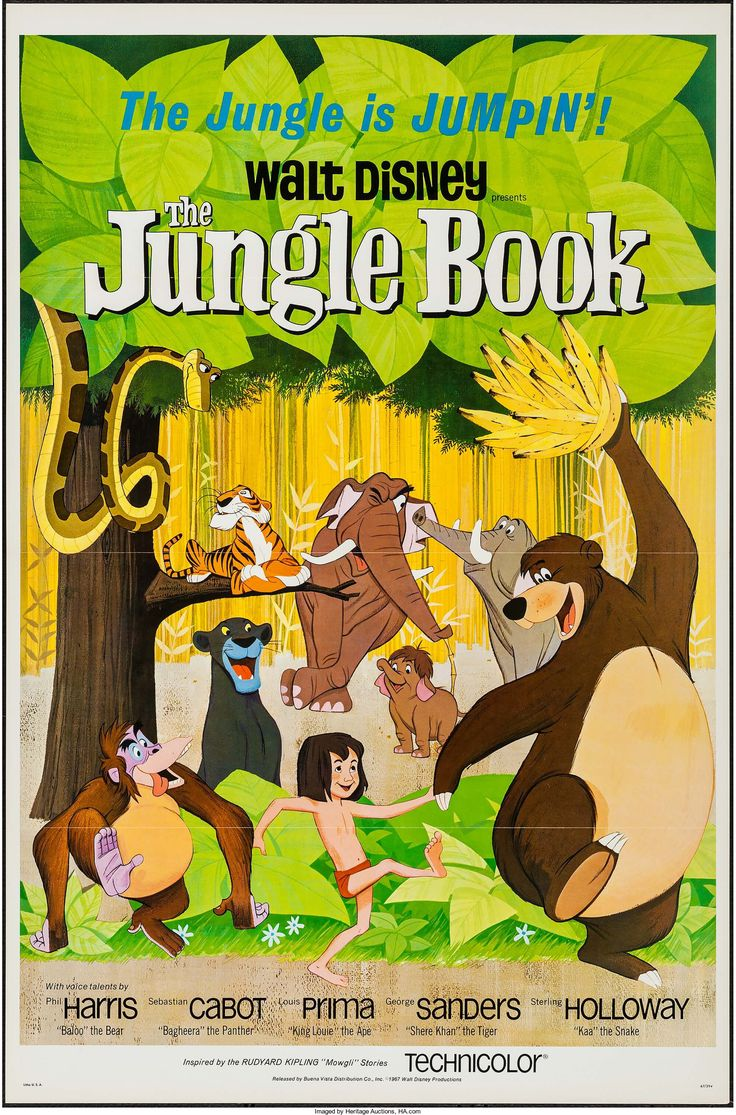 """The Jungle Book (Buena Vista, 1967). Flat Folded One Sheet (27"""" X 41""""). Animation.  Starring the voices of Phil Harris, Sebastian Cabot, Louis Prima, George Sanders, Sterling Holloway, Bruce Reitherman, Clint Howard, and Verna Felton. Directed by Wolfgang Reitherman. A Walt Disney Production."""