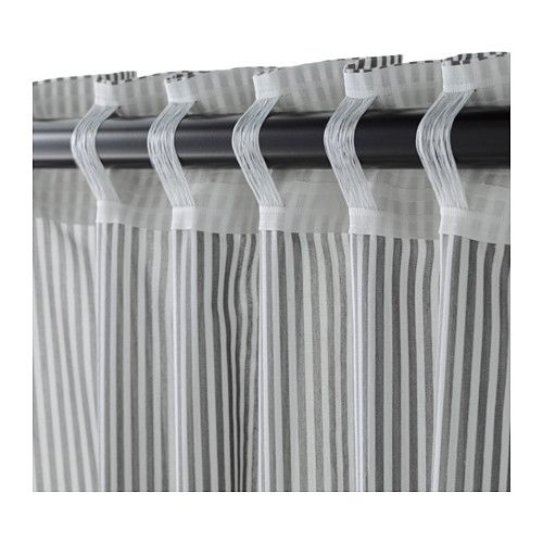 GULSPORRE Curtains, 1 pair, white, gray white/gray 57x98