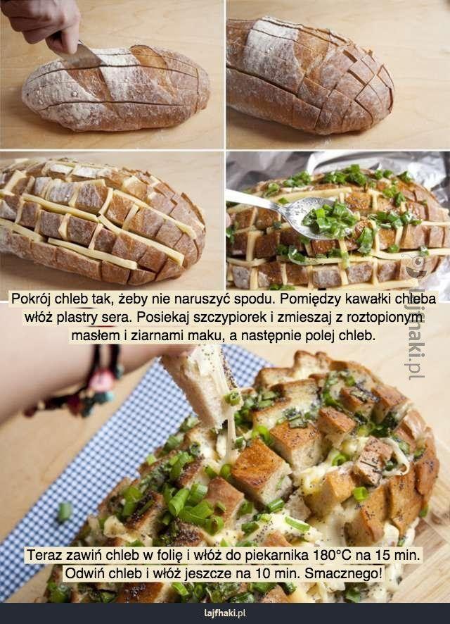 Pomysłowy chleb mniam mniam - Pokrój chleb tak, żeby nie naruszyć spodu. Pomiędzy kawałki chleba włóż plastry sera. Posiekaj szczypiorek i zmieszaj z roztopionym masłem i ziarnami maku, a następnie polej chleb.            Teraz zawiń chleb w folię i włóż do piekarnika 180°C na 15 min. Odwiń chleb i włóż jeszcze na 10 min. Smacznego!