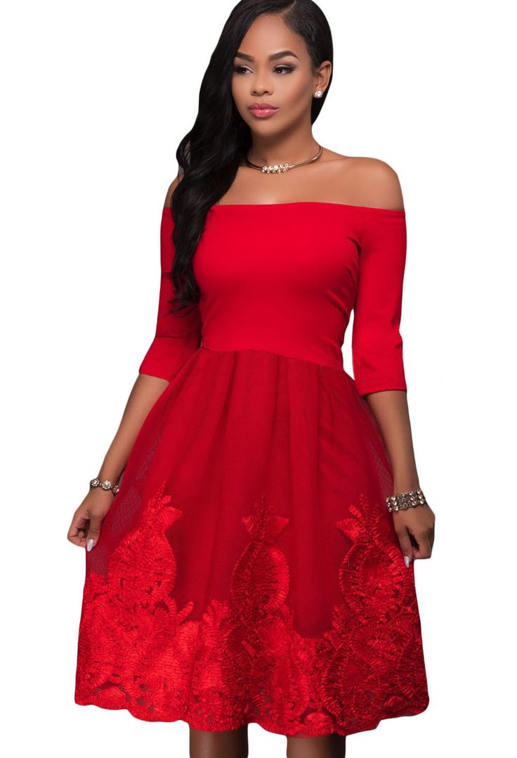 Robe de Patinage Rouge Chaud De dentelle Broderie Tulle Jupe Pas Cher www.modebuy.com @Modebuy #Modebuy #Rouge #style #mode #sexy