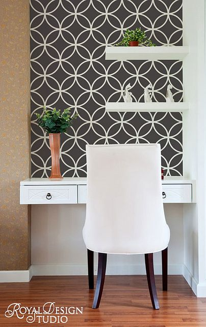Endless Circles Lattice Moroccan Wall Stencil by Royal Design Studio