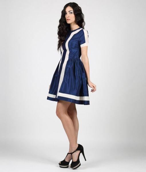 #ItalianStyle  Taffetà dress bicolor night blue.