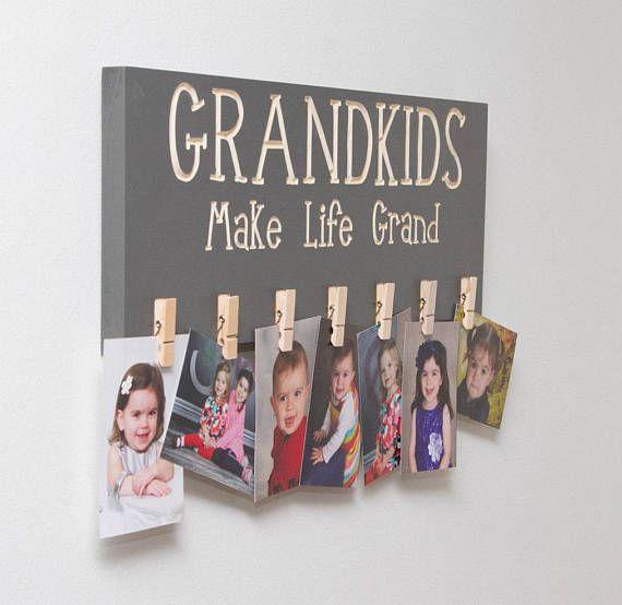 Grandkids picture holder sign, Grandparent Gift, Grandkids Make Life Grand Picture Photo Holder, Carved Sign Mothers Day