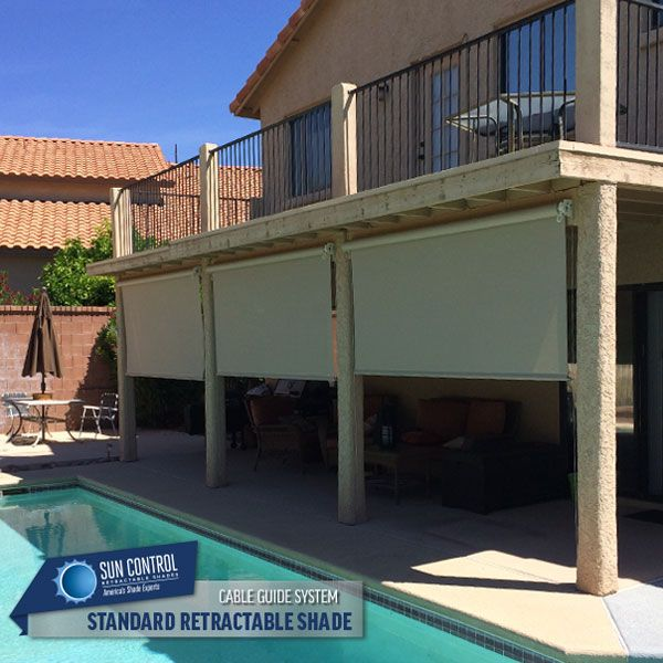 Manual Standard Exterior Patio Shade With Cable Guided System