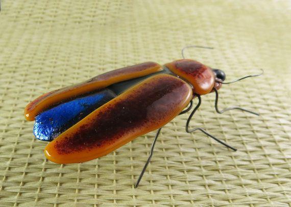 Fused Glass Lightning Bug Firefly Beetle by trilobiteglassworks