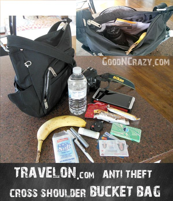 This Travelon cross shoulder bucket bag anti theft is the best Travel Purse EVER! Doubles as a camera bag!