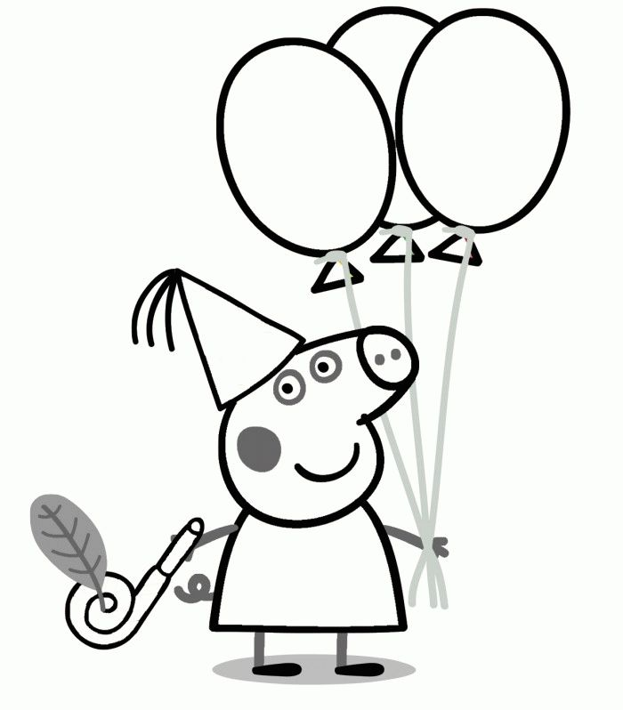 Peppa Pig Birthday Coloring Page