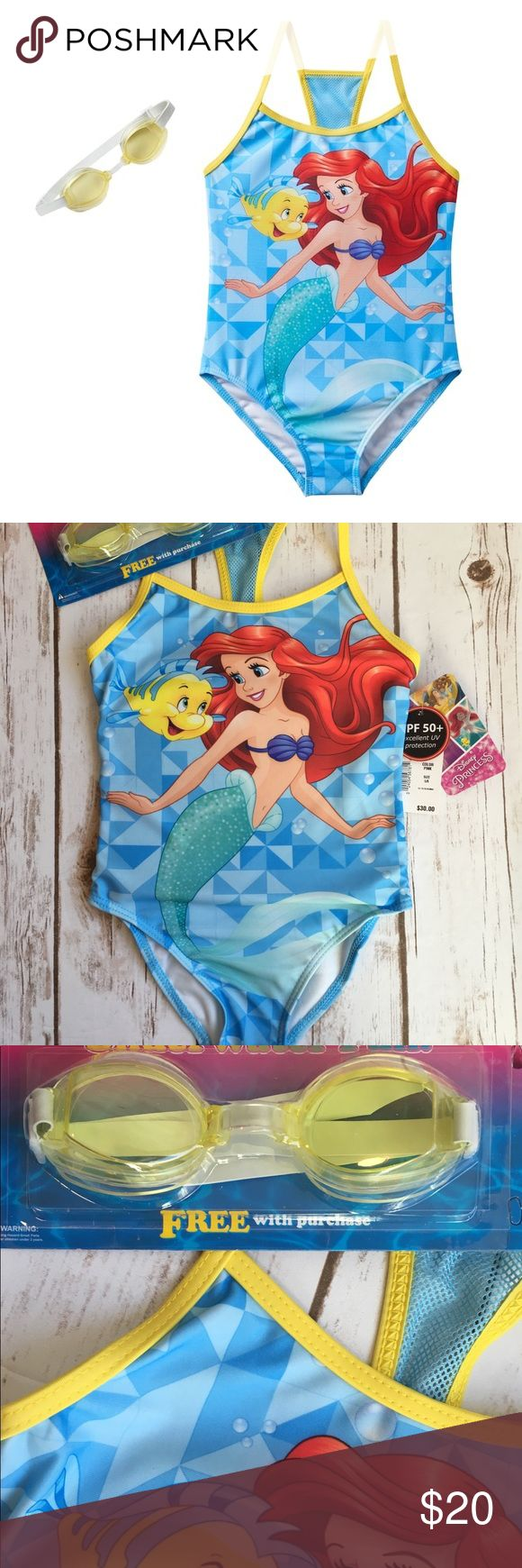 Disney Little Mermaid Ariel Girls Swimsuit 5/6 Disney Little Mermaid Ariel Girls One-Piece Swimsuit with goggles Size 5/6 PRODUCT FEATURES Includes goggles Scoopneck Mesh panel back Ariel & Flounder graphics UPF 50+ sun protection FABRIC & CARE Polyester, spandex Disney Swim One Piece