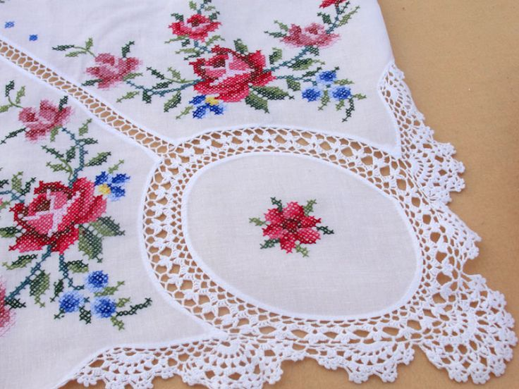 Dead white cotton Cross Stitch design with crochet lace tablecloths