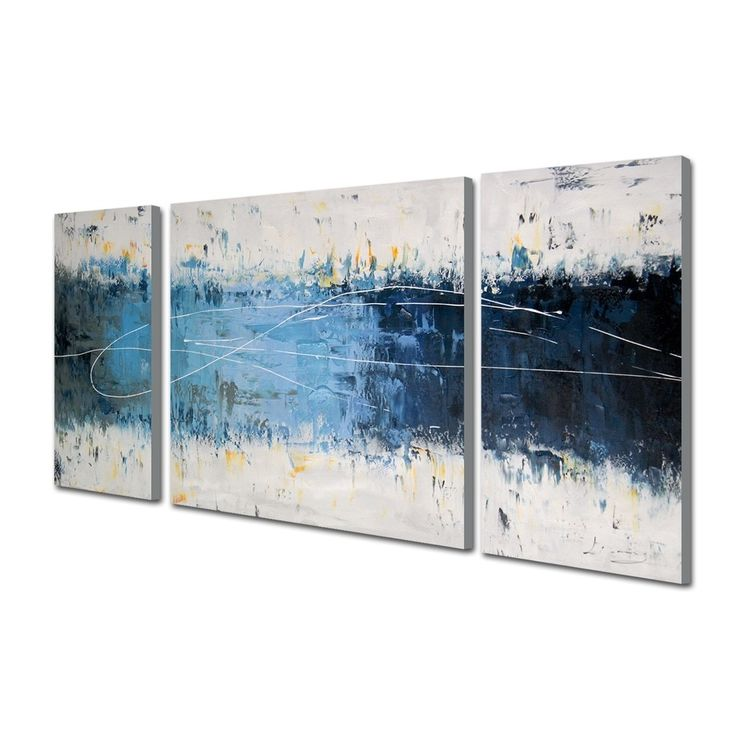 'Wake Up ' Hand-painted 3-piece Gallery-wrapped Canvas Art Set - 16871641 - Overstock - The Best Prices on The Lighting Store Gallery Wrapped Canvas - Mobile