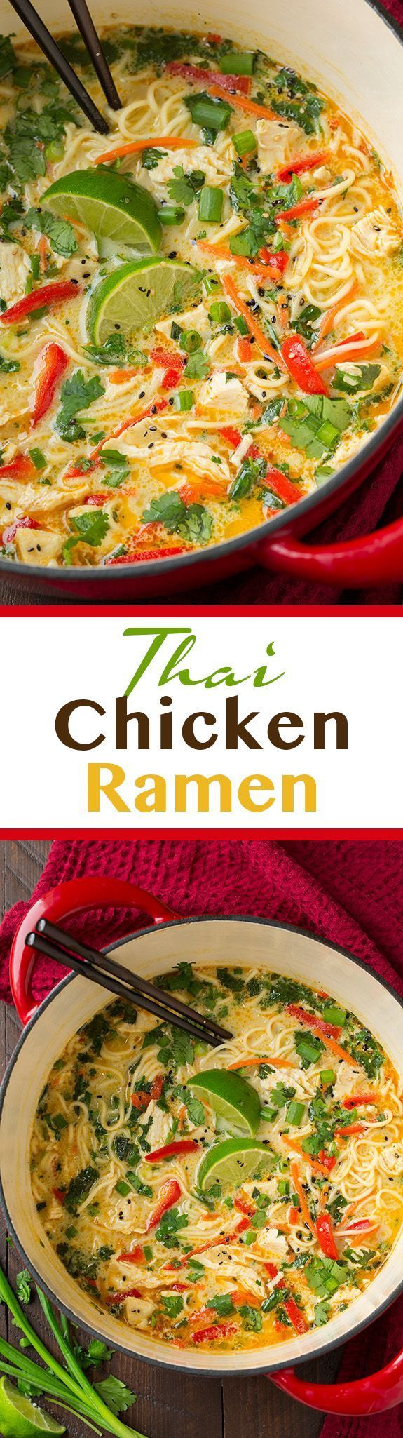 Thai Chicken Ramen - this is AMAZING! Easy to make and seriously so good…