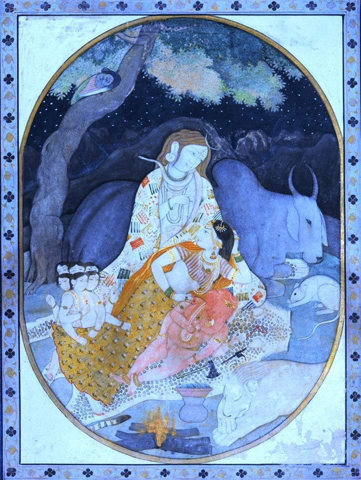 Lord Shiva withhis family known as Holy family Hum do-Hamare do - with two children, Guler Style, late 18th century. c/o Daljeet Kaur.