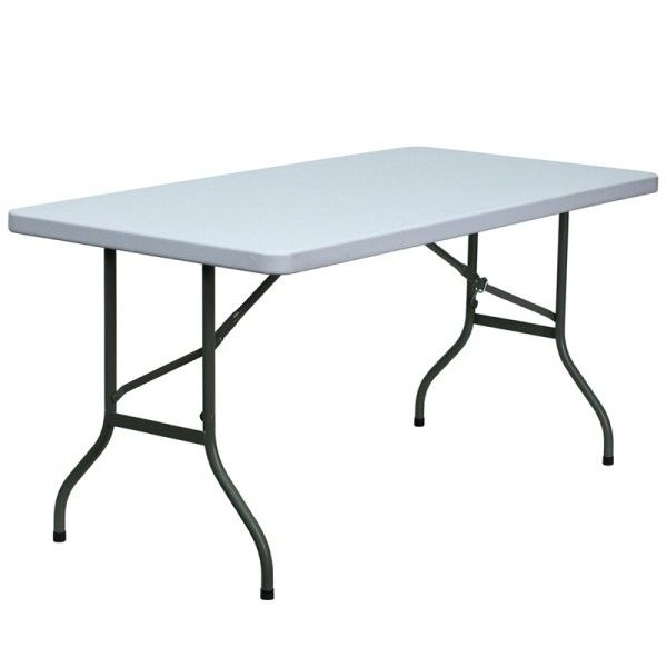 Pro Tough Granite White Plastic Folding Table 30 W X 60 L