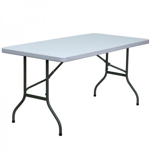 Pro Tough Granite White Plastic Folding Table 30 W X 60 L Furniture Table White Table Top
