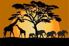 Paysage Et Animaux De La Savane Illustration de Vecteur - Image: 54746680