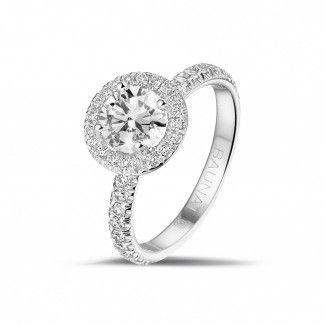 Witgouden Diamanten Verlovingsringen - 1.00 caraat Halo solitaire ring in wit goud met ronde diamanten