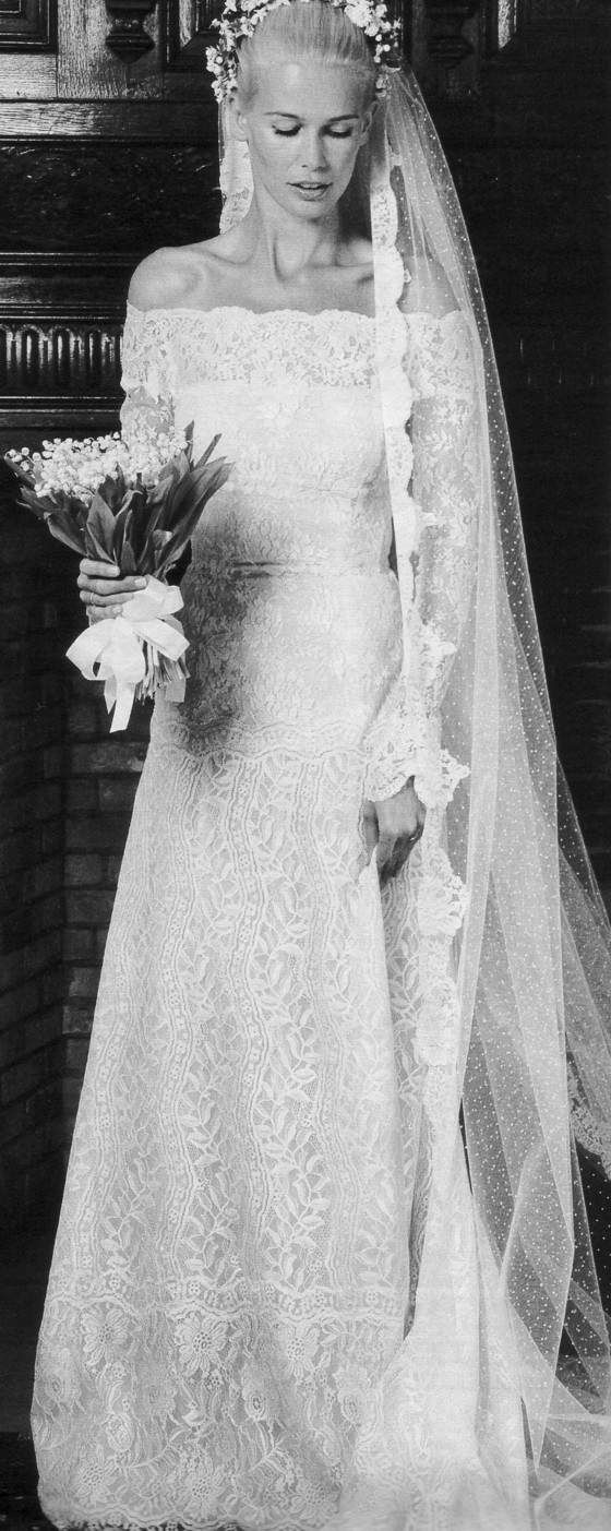 Claudia Schiffer in Valentino on her wedding day.